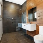 black and timber bathroom